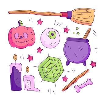 Hand getekend halloween element pack