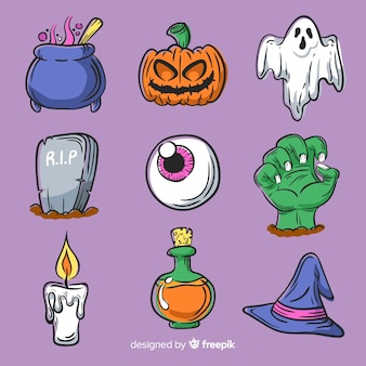 Hand getekend halloween element set