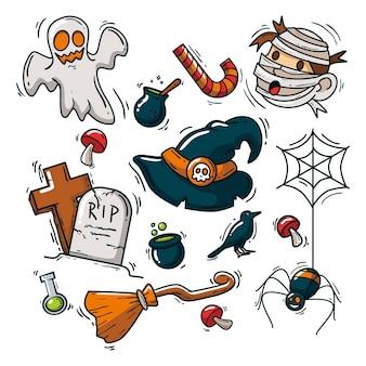 Hand getekend halloween elementen collectie