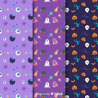 Hand getekend halloween elementen patroon collectie