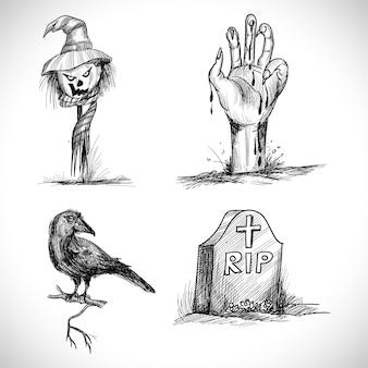 Hand getekend halloween elementen schetsontwerp