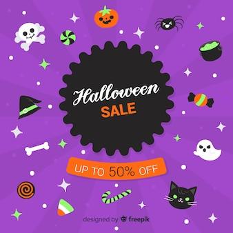Hand getekend halloween elementen verkoop collectie