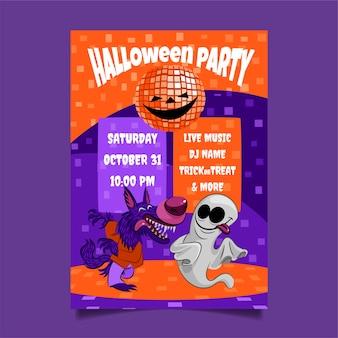 Hand getekend halloween-feest verticale postersjabloon Premium Vector
