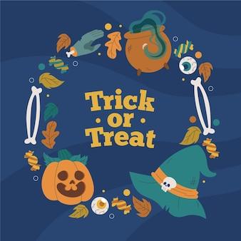 Hand getekend halloween frame met trick or treat-bericht