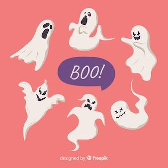Hand getekend halloween ghost collection met praatjebel