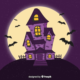 Hand getekend halloween huis in de nacht