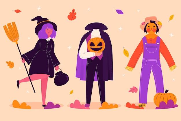 Hand getekend halloween karakter collectie