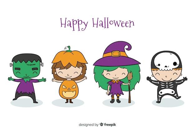 Hand getekend halloween kind collectie