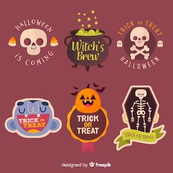 Hand getekend halloween label en badge collectie