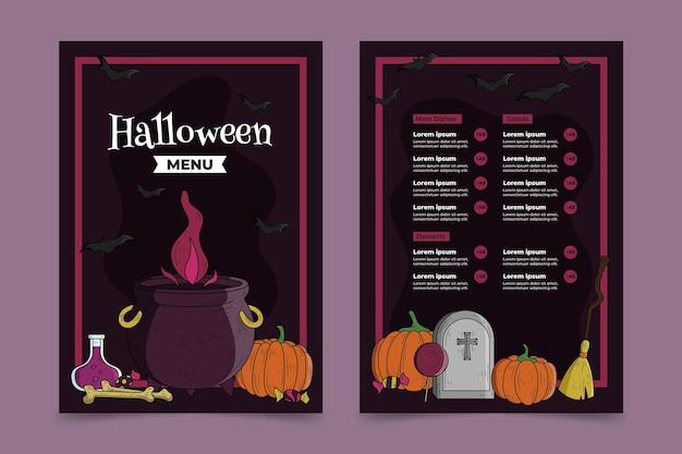 Hand getekend halloween menusjabloon ontwerpen