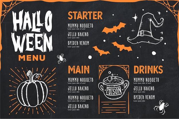 Hand getekend halloween menusjabloon