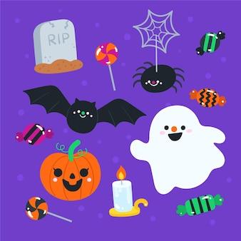 Hand getekend halloween ontwerpelementen