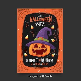 Hand getekend halloween partij folder sjabloon met pompoen