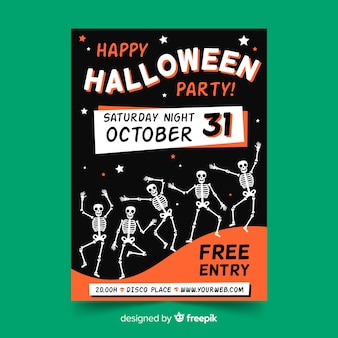 Hand getekend halloween partij folder sjabloon met skeletten