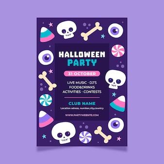 Hand getekend halloween partij poster sjabloon