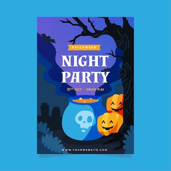 Hand getekend halloween party poster met illustraties