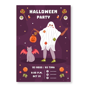 Hand getekend halloween party poster sjabloon