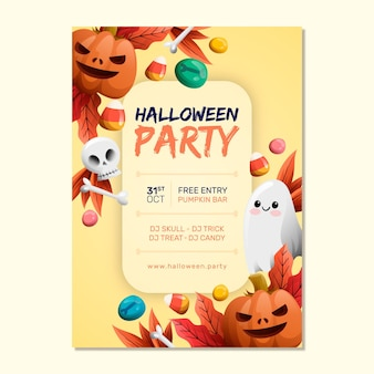 Hand getekend halloween party poster sjabloon