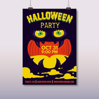 Hand getekend halloween party poster