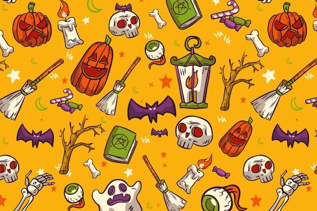 Hand getekend halloween patronen