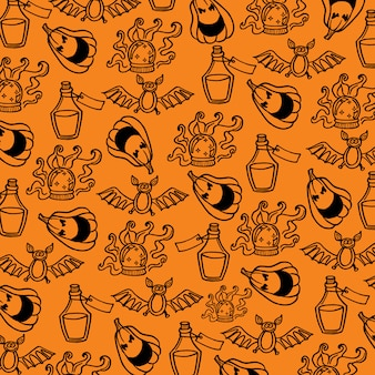 Hand getekend halloween patroon achtergrond
