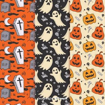 Hand getekend halloween patroon collectie