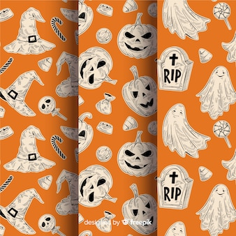 Hand getekend halloween patroon collectie