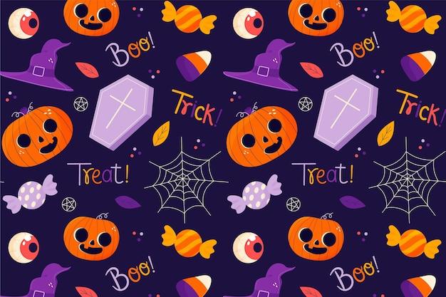 Hand getekend halloween patroon met doodskisten