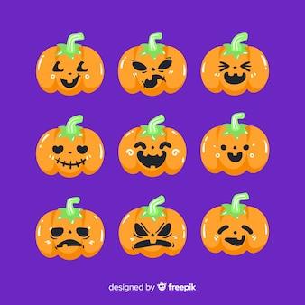 Hand getekend halloween pompoen collectie met stengels