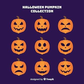 Hand getekend halloween pompoen collectie op paarse achtergrond