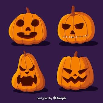 Hand getekend halloween pompoen collectie