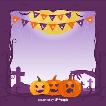 Hand getekend halloween pompoen frame