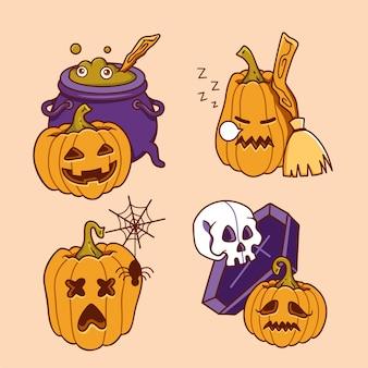 Hand getekend halloween pompoen
