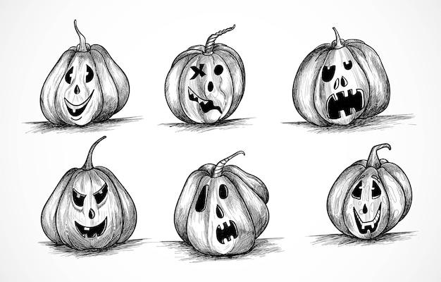 Hand getekend halloween pompoenen grappige schets set