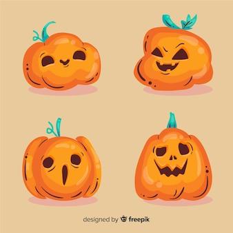 Hand getekend halloween schattige pompoen collectie