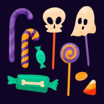 Hand getekend halloween snoep collectie