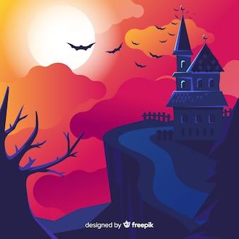 Hand getekend halloween spookhuis op een heuvel