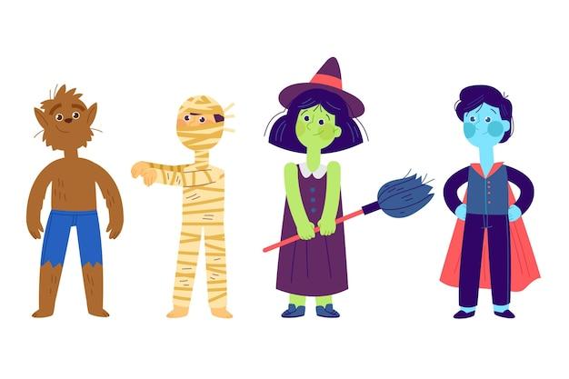 Hand getekend halloween tekenset