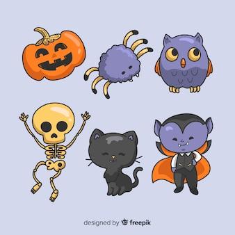 Hand getekend halloween tekensverzameling