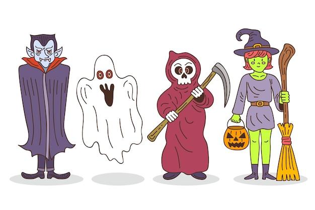 Hand getekend halloween tekenverzameling