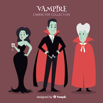 Hand getekend halloween vampier karakter collectie