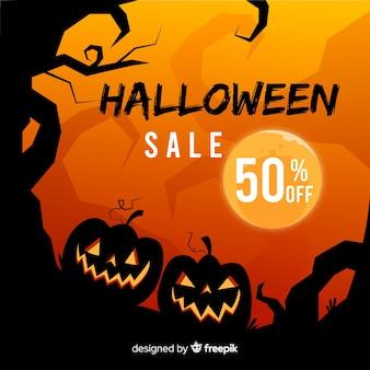 Hand getekend halloween verkoop achtergrond