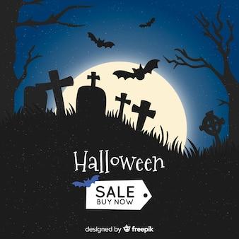 Hand getekend halloween verkoop op een begraafplaats