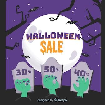 Hand getekend halloween verkoop op een volle maan korting nacht