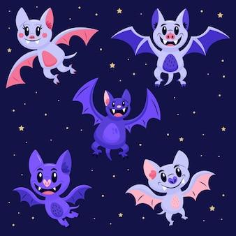 Hand getekend halloween vleermuis concept