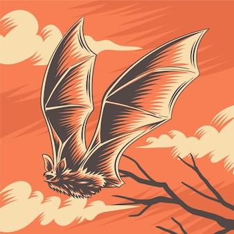 Hand getekend halloween vleermuis