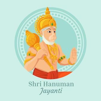 Hand getekend hanuman jayanti illustratie