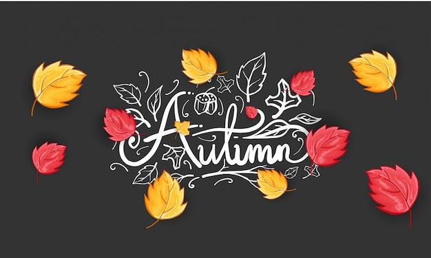 Hand getekend happy autumn begroeting achtergrond