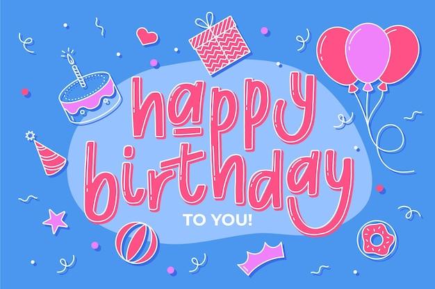 Hand getekend happy birthday achtergrond
