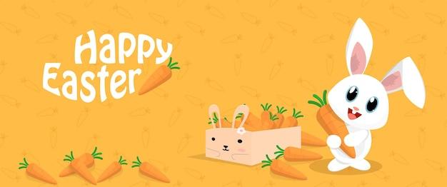 Hand getekend happy easter bunny met wortelen